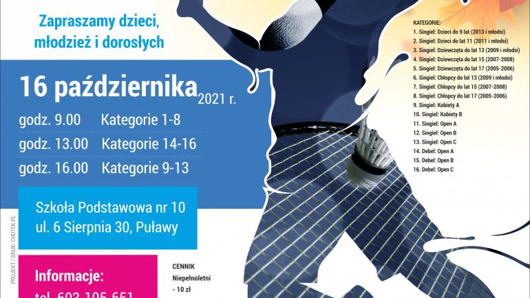VIII Mistrzostwa Puław w badmintonie 16.10.2021
